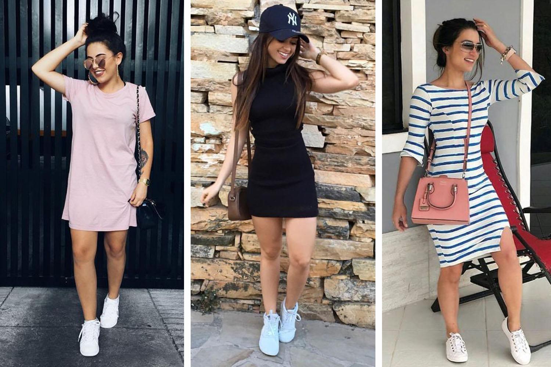 look com tênis e vestido